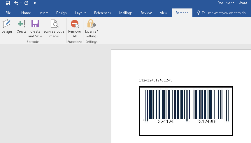 barcode generator MS Word document