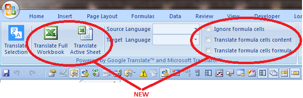 Google Translate for Excel new features