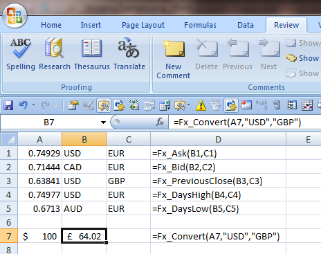 Currency exchange rates in excel